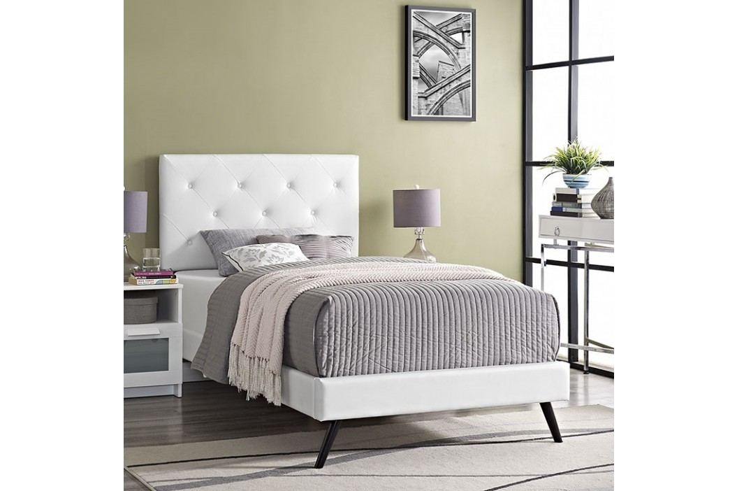 Terisa Twin Vinyl Platform Bed with Round Splayed Legs in White Beds