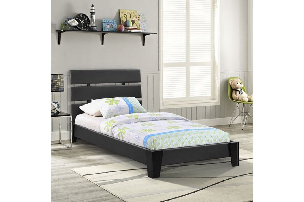 Zoe Twin Vinyl Bed in Black Beds