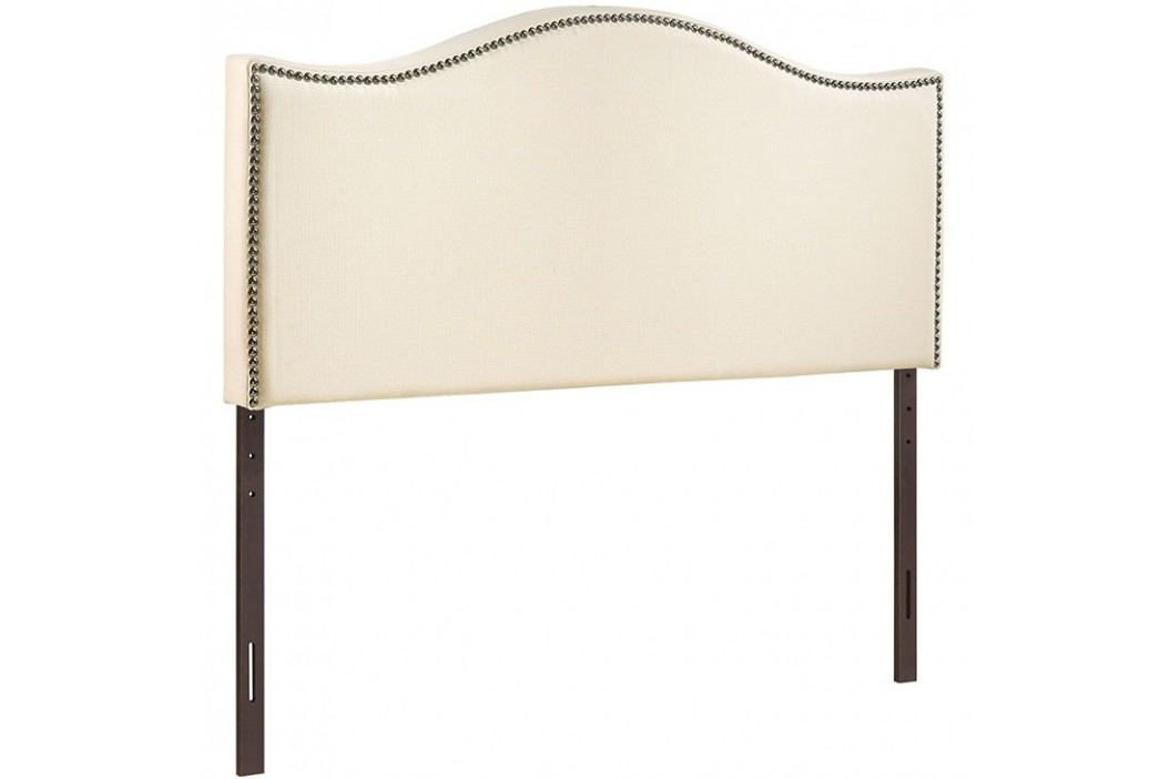 Curl King Nailhead Upholstered Headboard in Ivory Beds
