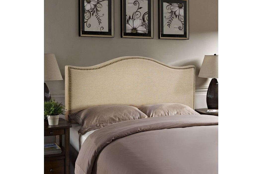 Curl Queen Nailhead Upholstered Headboard in Cafe Beds