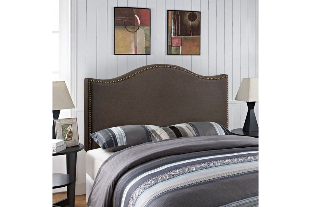 Curl Queen Nailhead Upholstered Headboard in Dark Brown