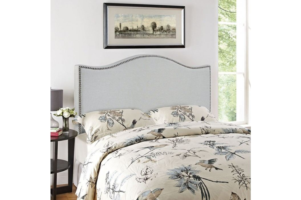 Curl Queen Nailhead Upholstered Headboard in Sky Gray Beds
