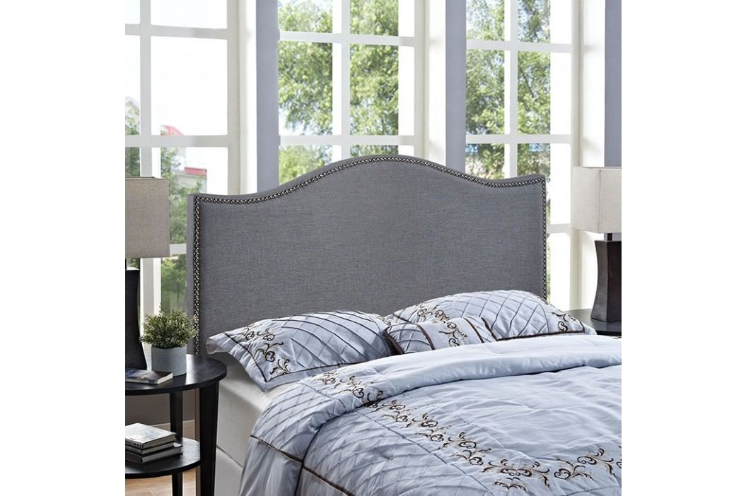 Curl Queen Nailhead Upholstered Headboard in Smoke Beds