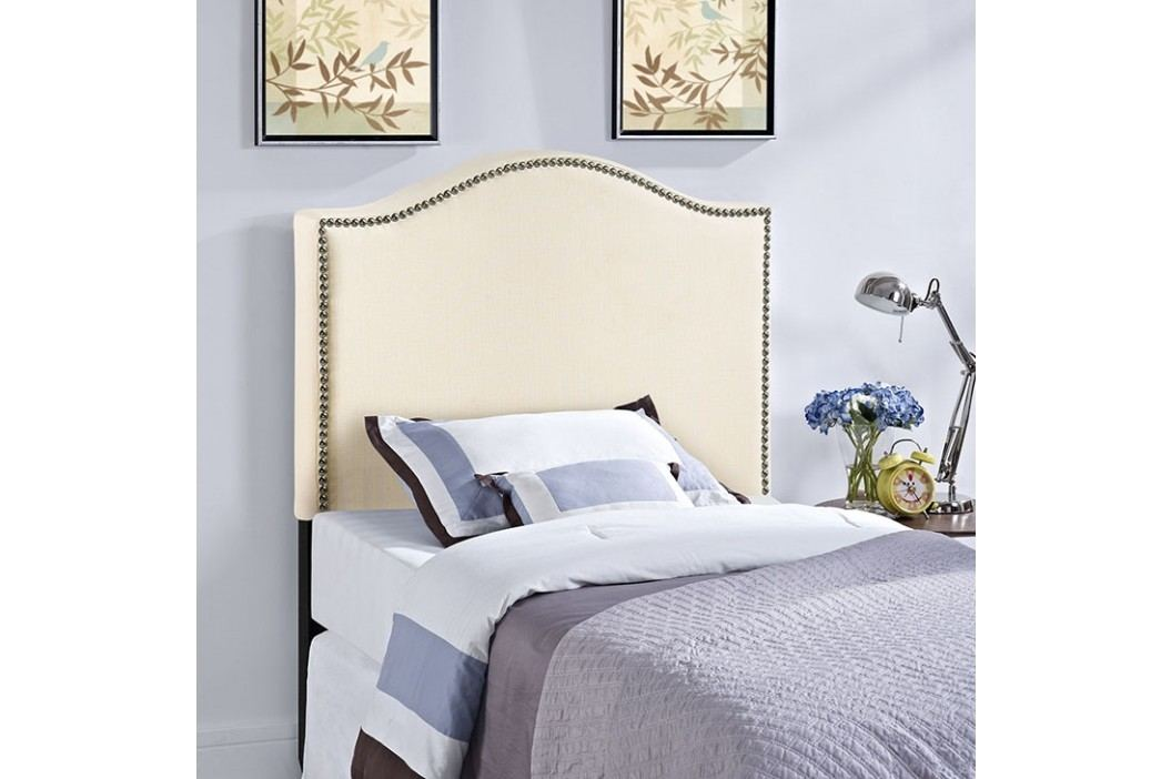 Curl Twin Nailhead Upholstered Headboard in Ivory Beds