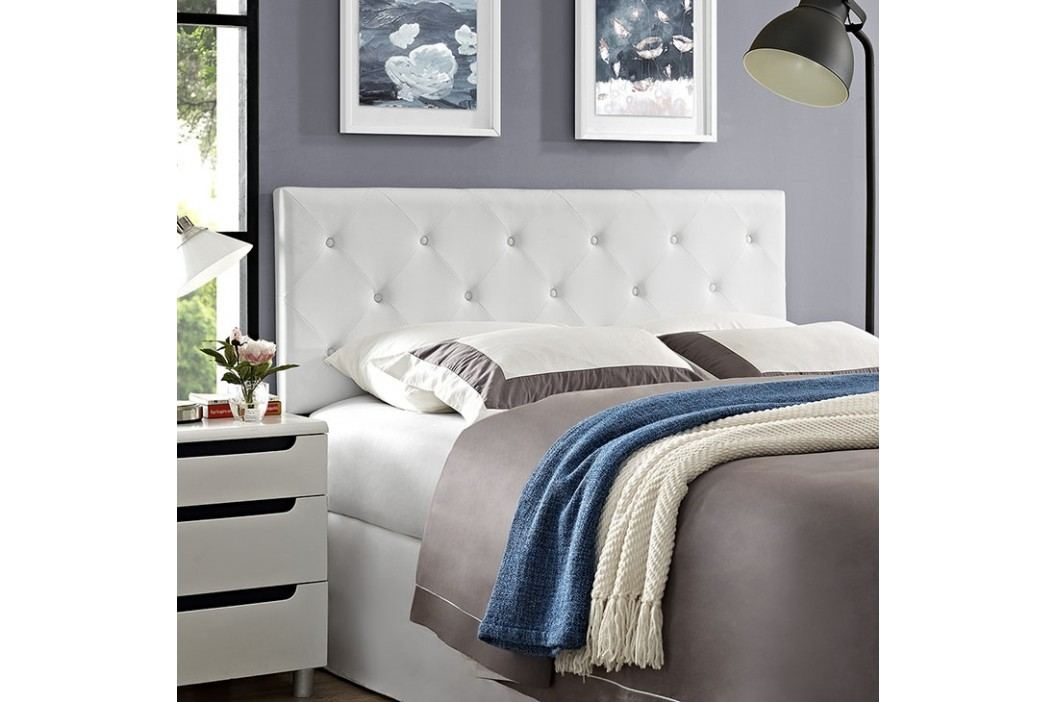 Terisa Queen Vinyl Headboard in White Beds
