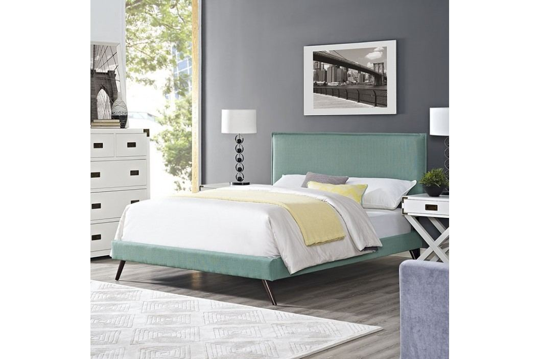 Camille Full Fabric Platform Bed with Round Splayed Legs in Laguna Beds