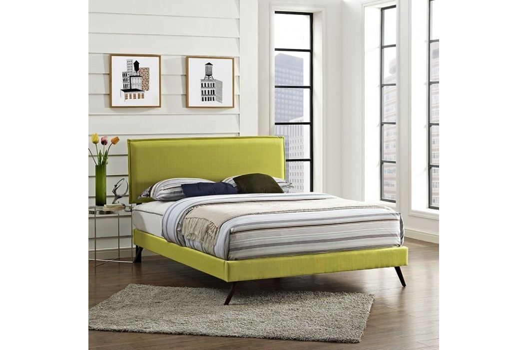 Camille Full Fabric Platform Bed with Round Splayed Legs in Wheatgrass Beds