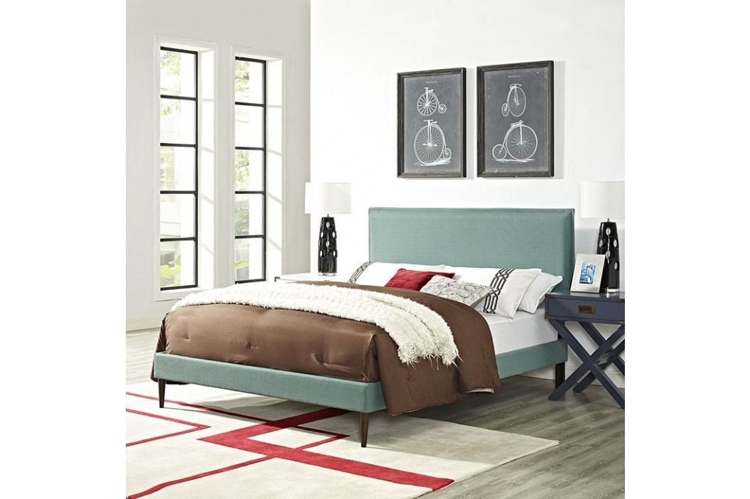 Camille Full Fabric Platform Bed with Round Tapered Legs in Laguna Beds