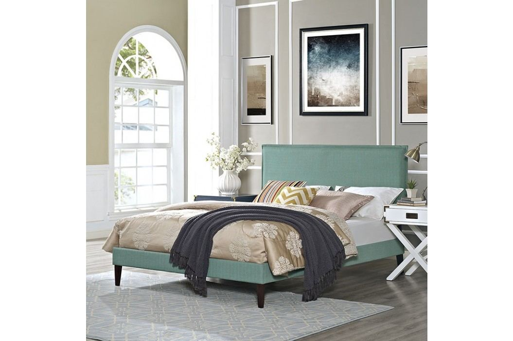 Camille Full Fabric Platform Bed with Squared Tapered Legs in Laguna Beds