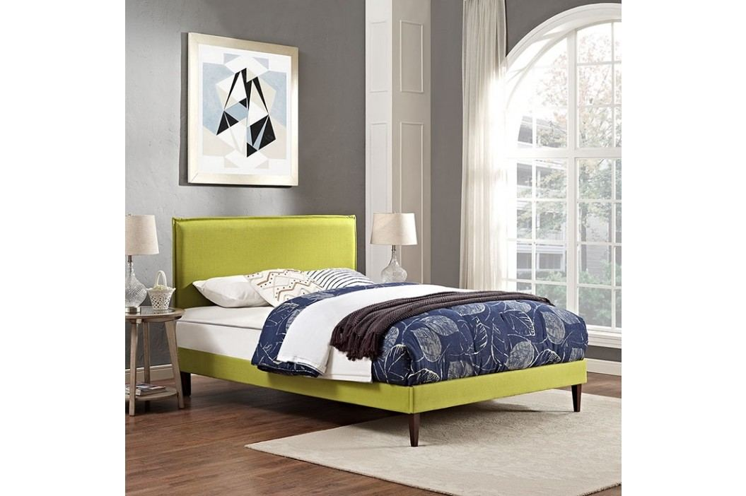 Camille Full Fabric Platform Bed with Squared Tapered Legs in Wheatgrass Beds