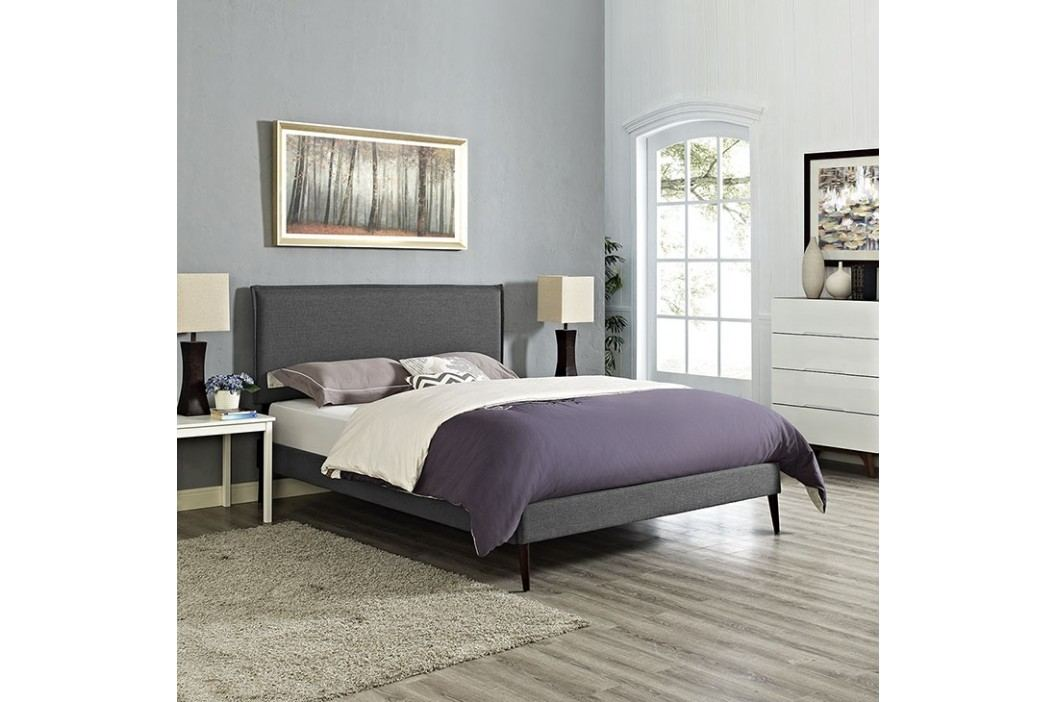 Camille King Fabric Platform Bed with Round Tapered Legs in Gray Beds