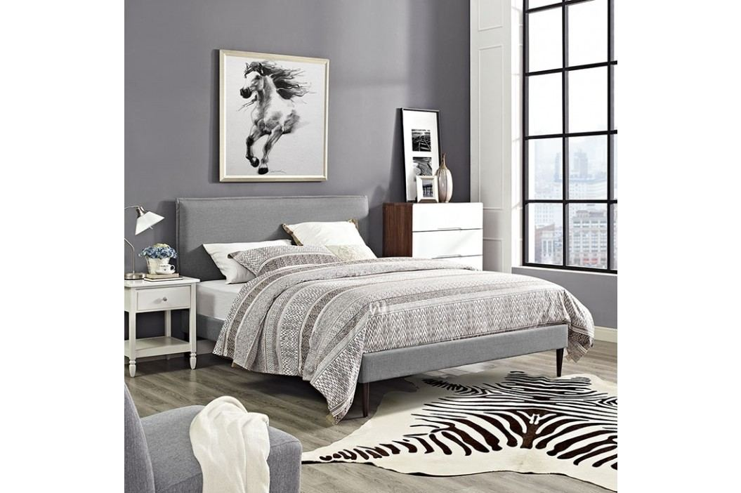 Camille King Fabric Platform Bed with Round Tapered Legs in Light Gray Beds