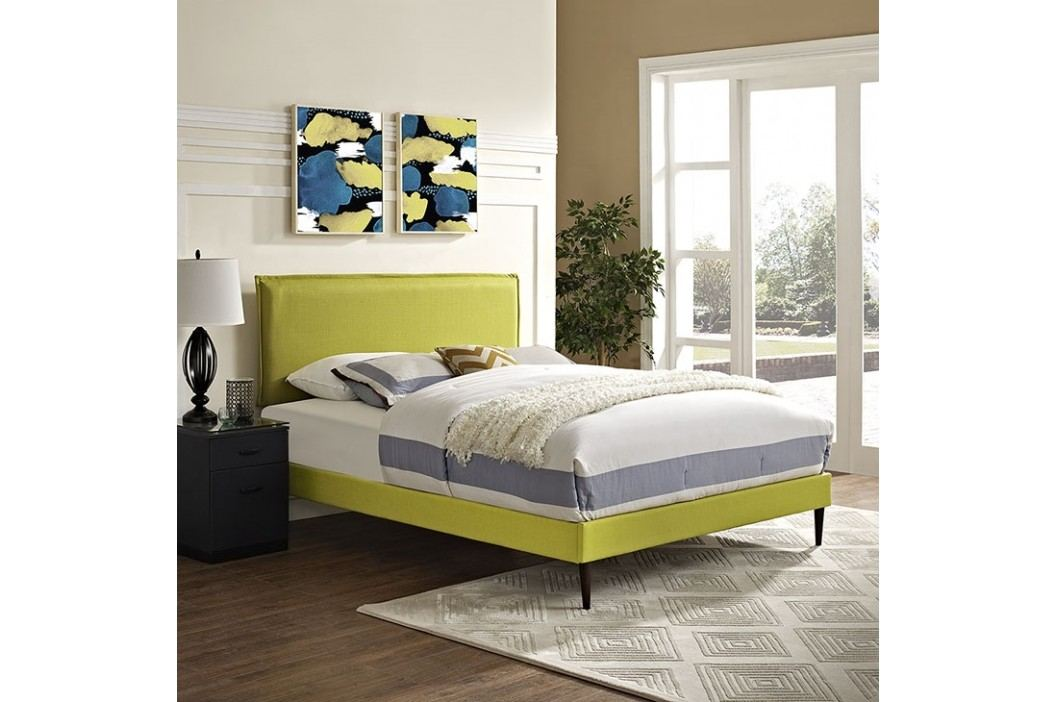 Camille King Fabric Platform Bed with Round Tapered Legs in Wheatgrass Beds