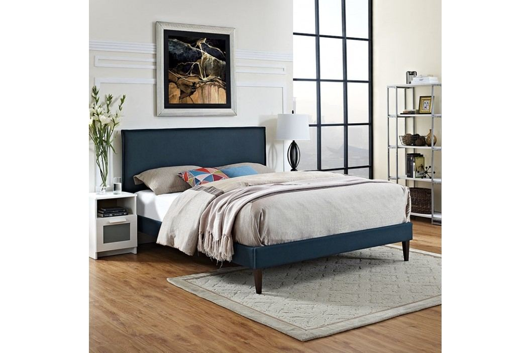 Camille King Fabric Platform Bed with Squared Tapered Legs in Azure Beds