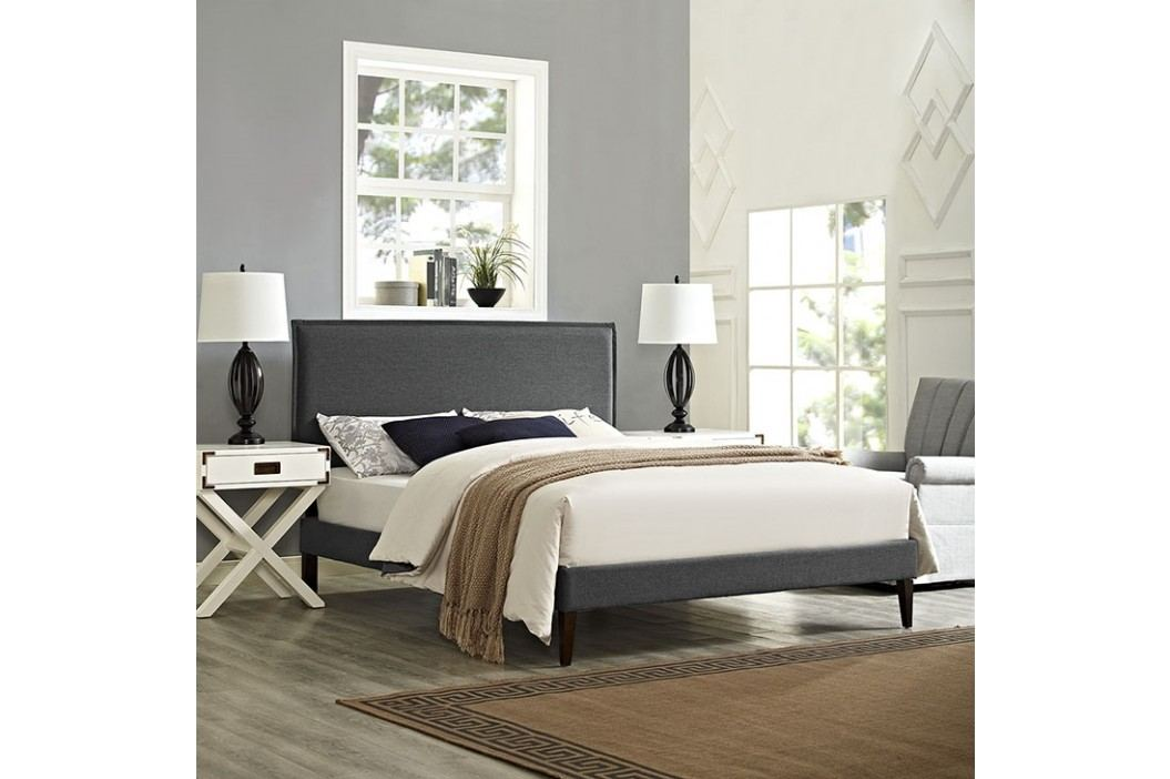 Camille King Fabric Platform Bed with Squared Tapered Legs in Gray Beds