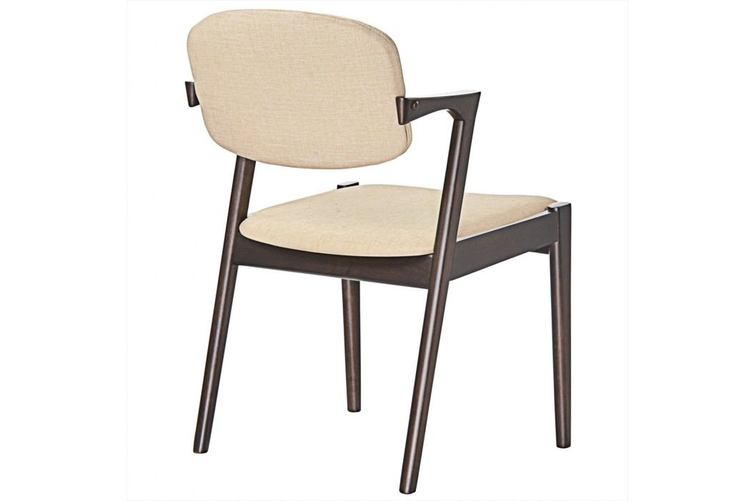 Spunk Dining Armchair in Walnut Beige Dining Chairs