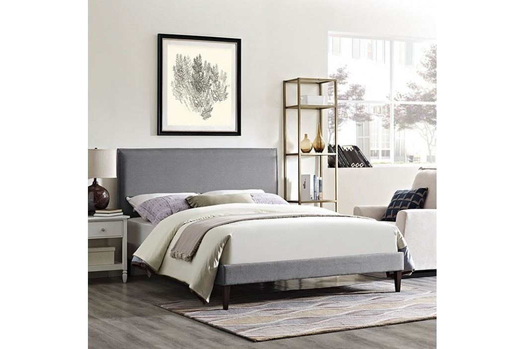 Camille King Fabric Platform Bed with Squared Tapered Legs in Light Gray Beds