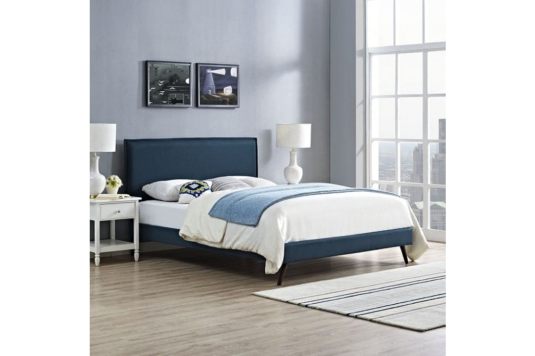 Camille Queen Fabric Platform Bed with Round Splayed Legs in Azure