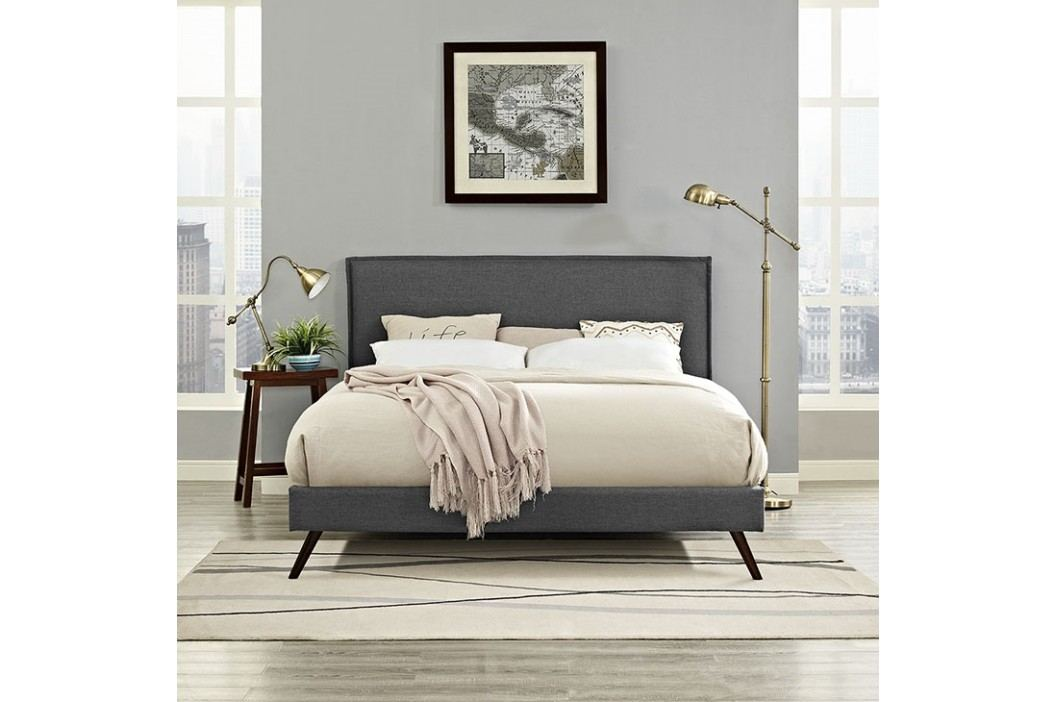 Camille Queen Fabric Platform Bed with Round Splayed Legs in Gray Beds