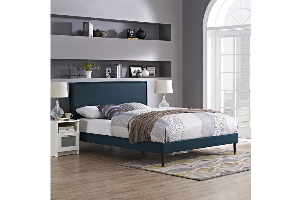 Camille Queen Fabric Platform Bed with Round Tapered Legs in Azure