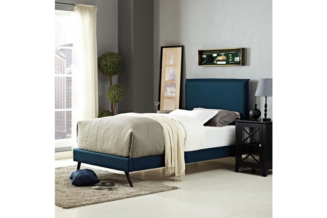 Camille Twin Fabric Platform Bed with Round Splayed Legs in Azure
