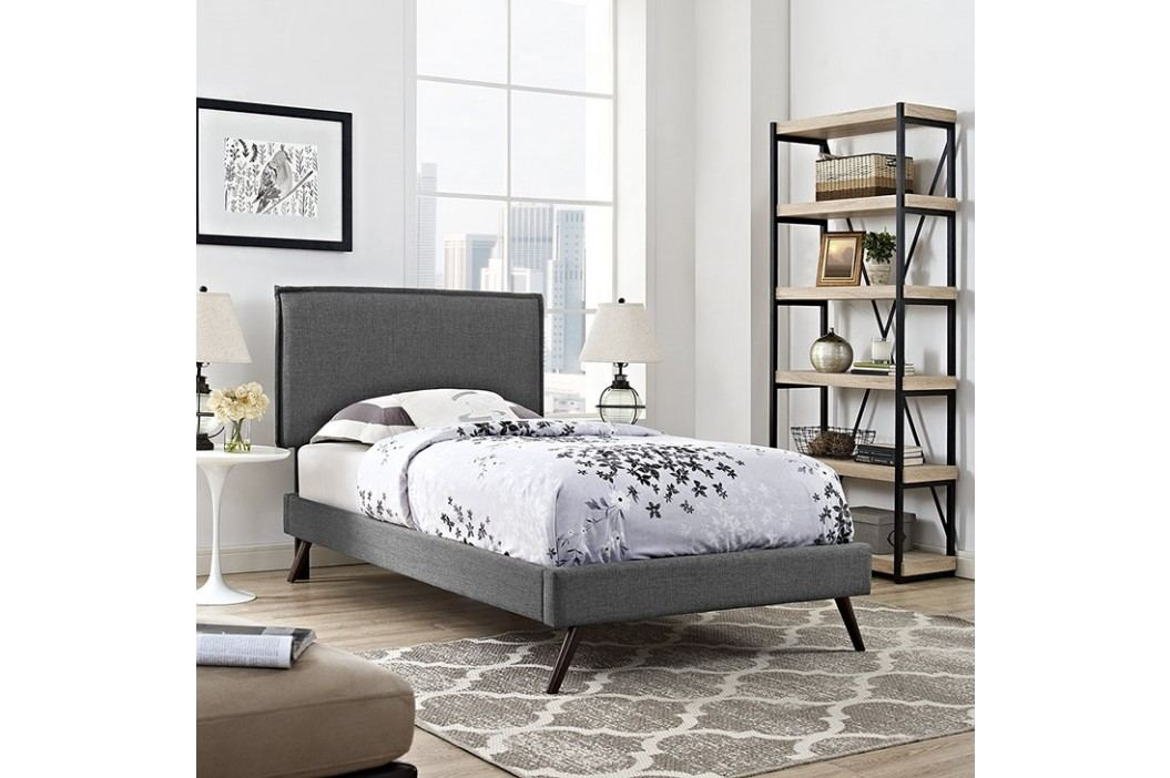 Camille Twin Fabric Platform Bed with Round Splayed Legs in Gray Beds