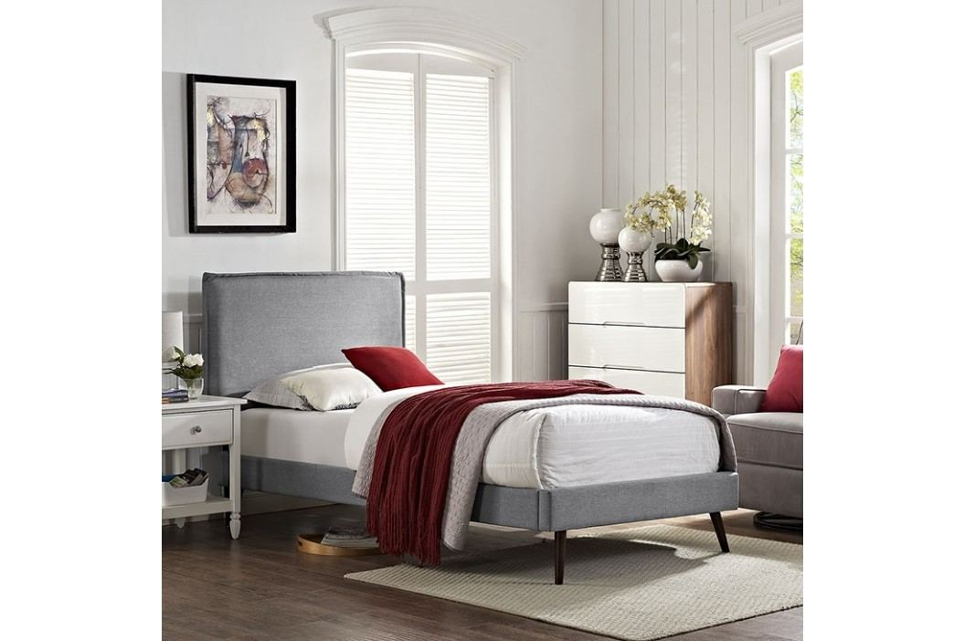 Camille Twin Fabric Platform Bed with Round Splayed Legs in Light Gray Beds
