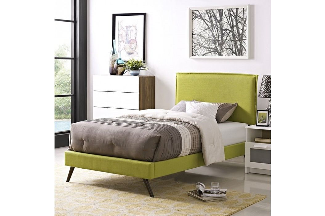 Camille Twin Fabric Platform Bed with Round Splayed Legs in Wheatgrass Beds