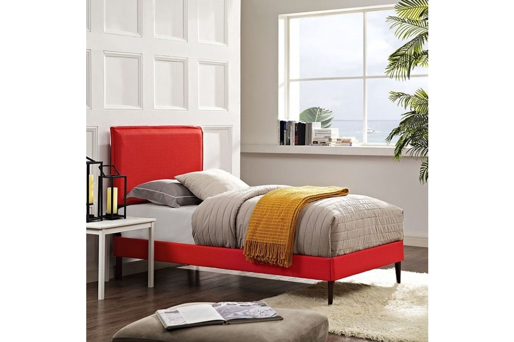 Camille Twin Fabric Platform Bed with Round Tapered Legs in Atomic Red Beds