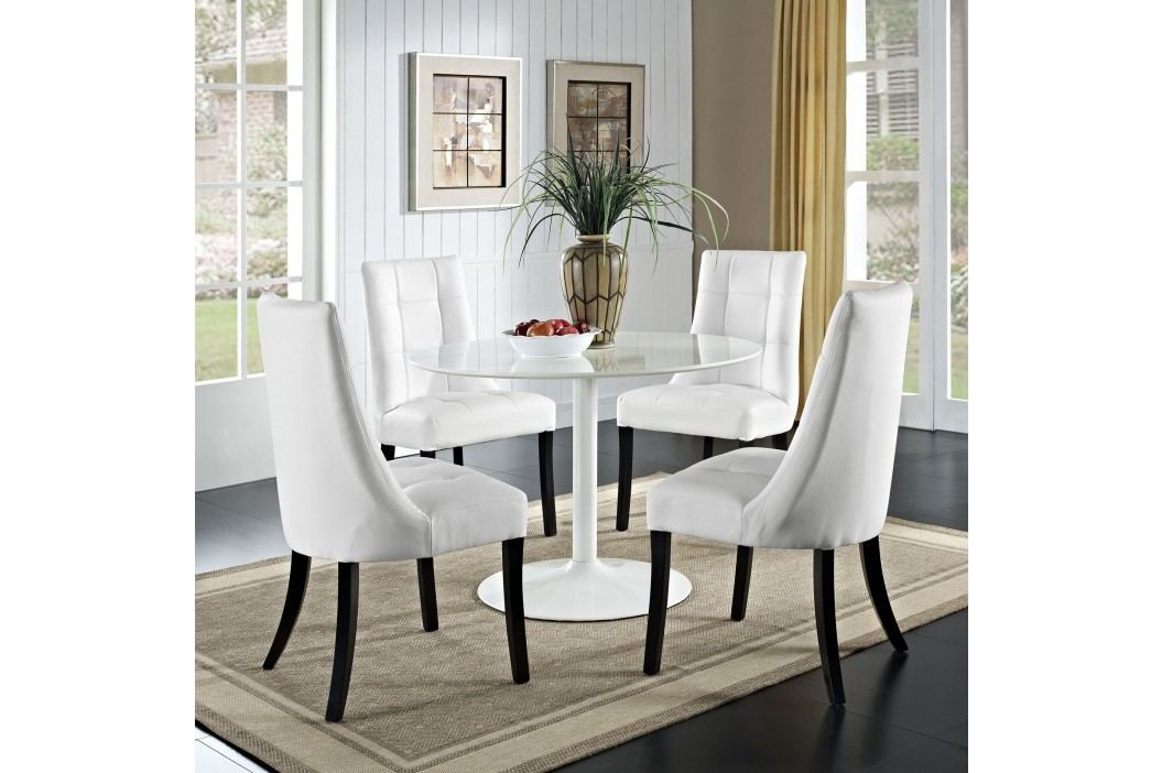Noblesse Vinyl Dining Chair Set of 4 in White Dining Sets