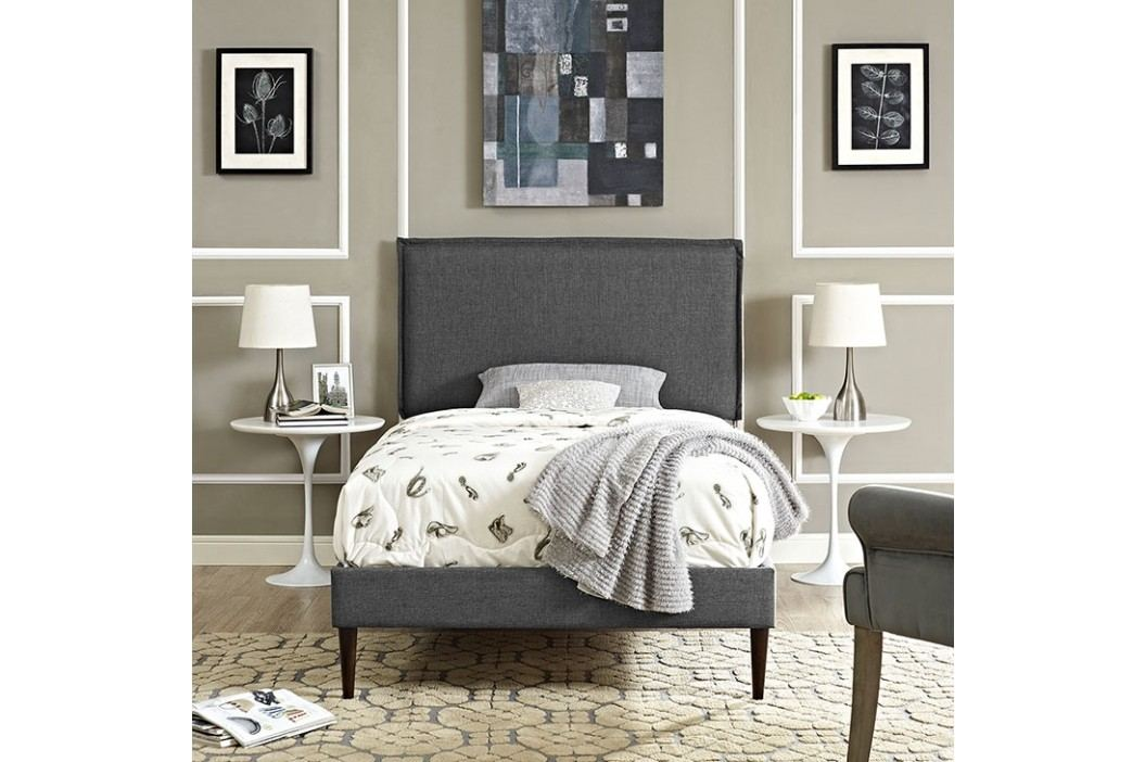 Camille Twin Fabric Platform Bed with Round Tapered Legs in Gray Beds