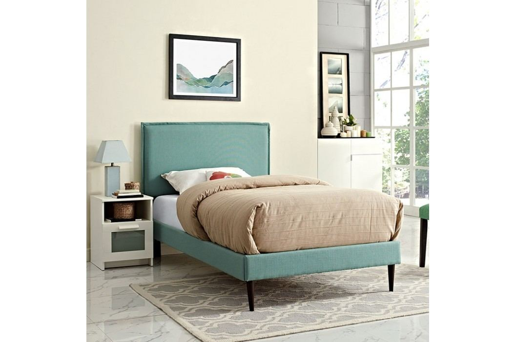 Camille Twin Fabric Platform Bed with Round Tapered Legs in Laguna Beds