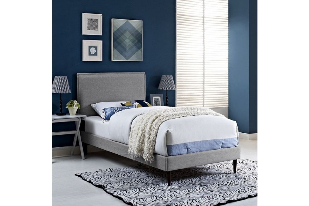 Camille Twin Fabric Platform Bed with Round Tapered Legs in Light Gray