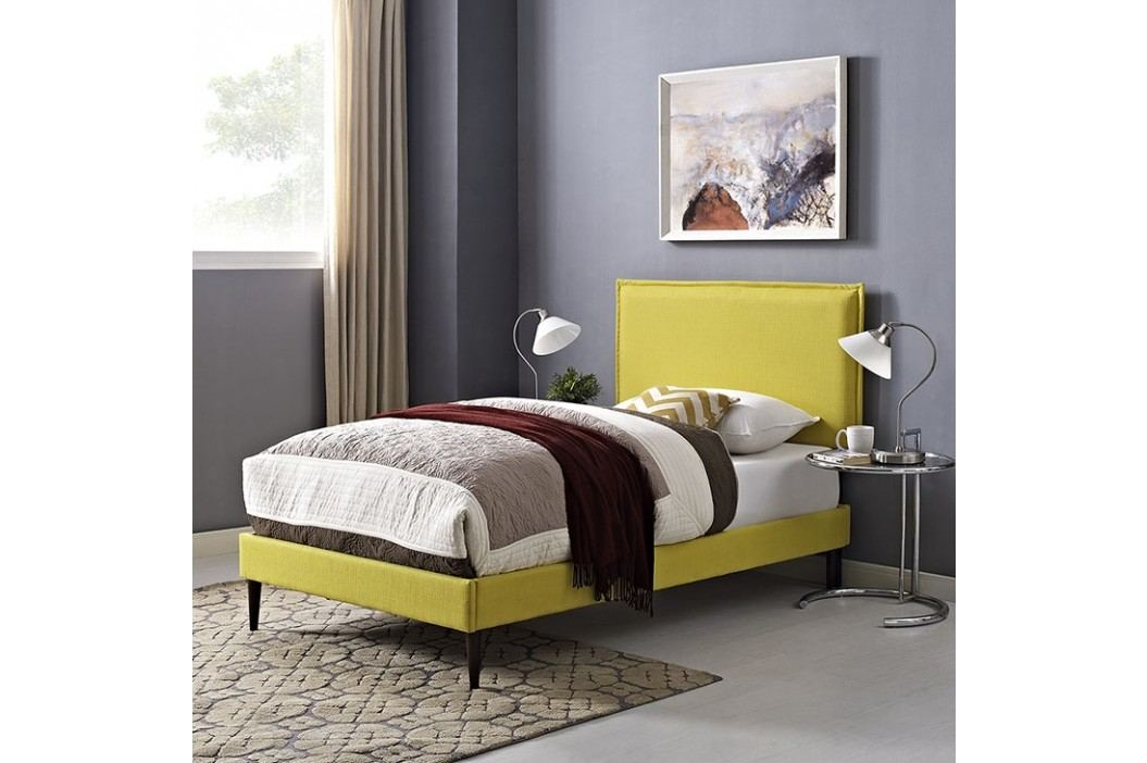 Camille Twin Fabric Platform Bed with Round Tapered Legs in Sunny Beds