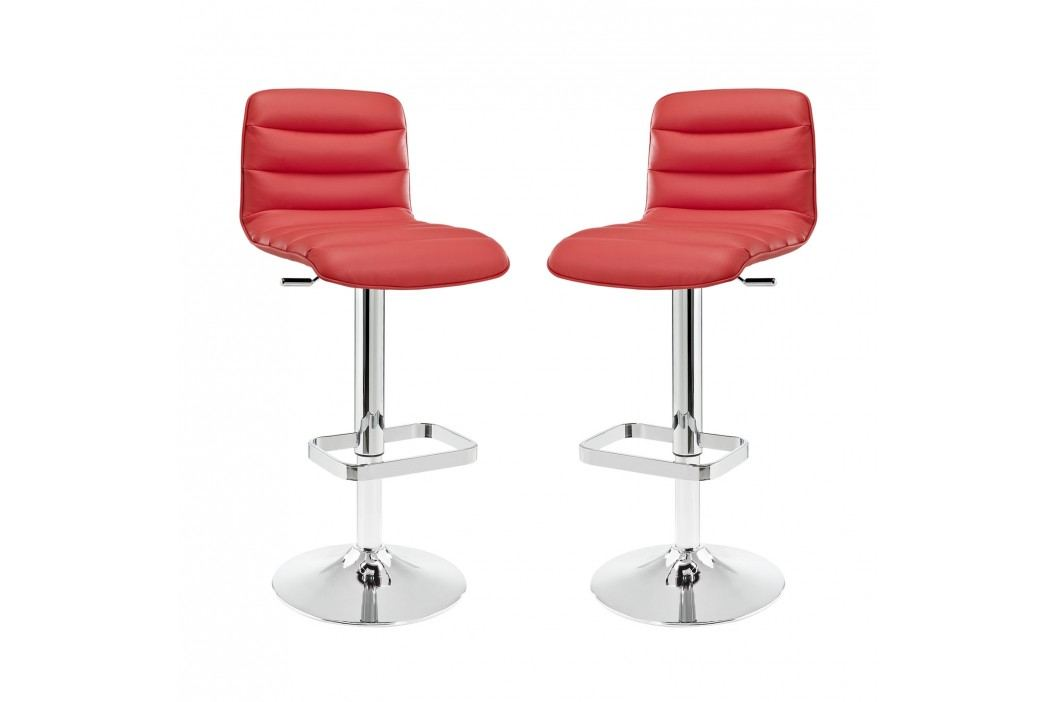 Ripple Bar Stool Set of 2 in Red Dining Sets