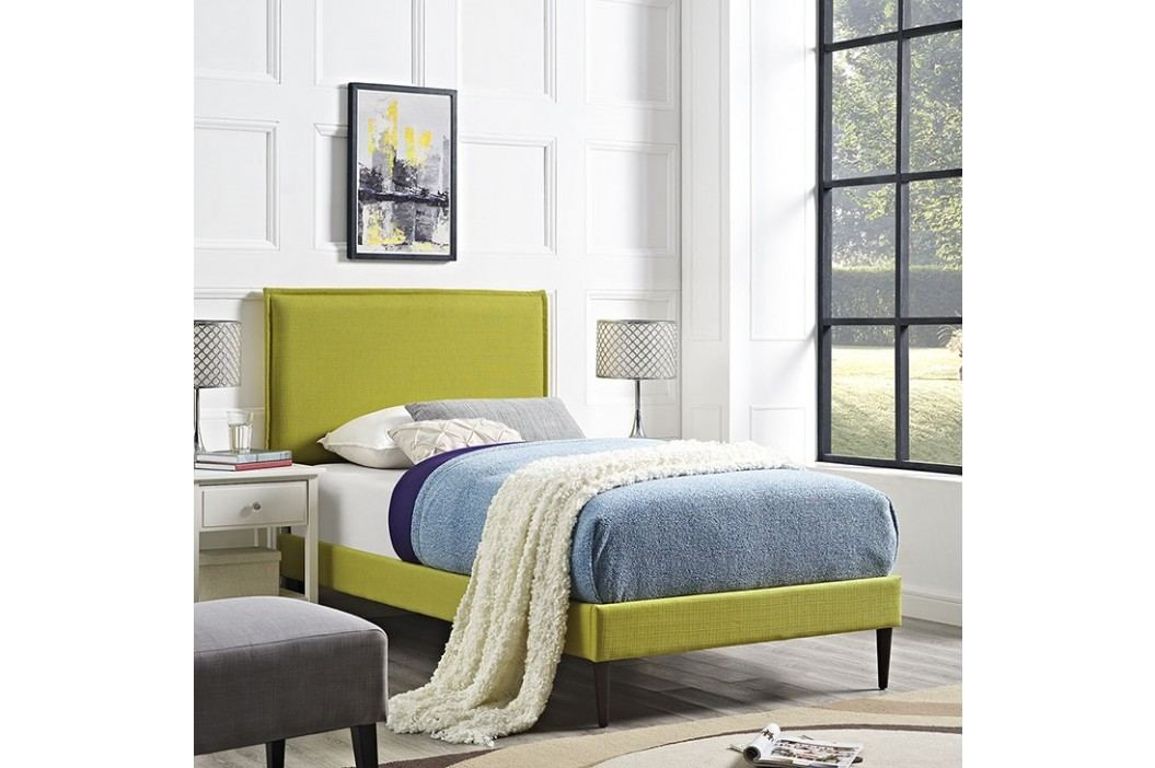 Camille Twin Fabric Platform Bed with Round Tapered Legs in Wheatgrass Beds
