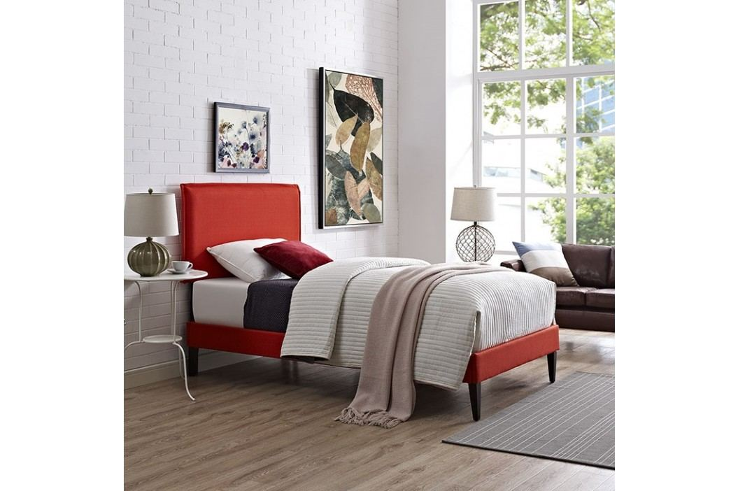 Camille Twin Fabric Platform Bed with Squared Tapered Legs in Atomic Red Beds