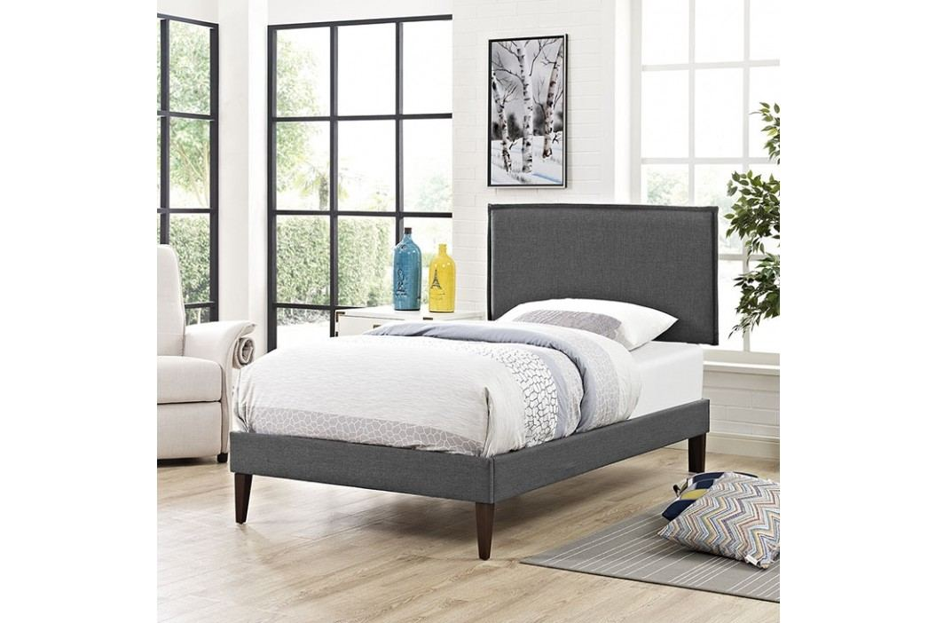 Camille Twin Fabric Platform Bed with Squared Tapered Legs in Gray