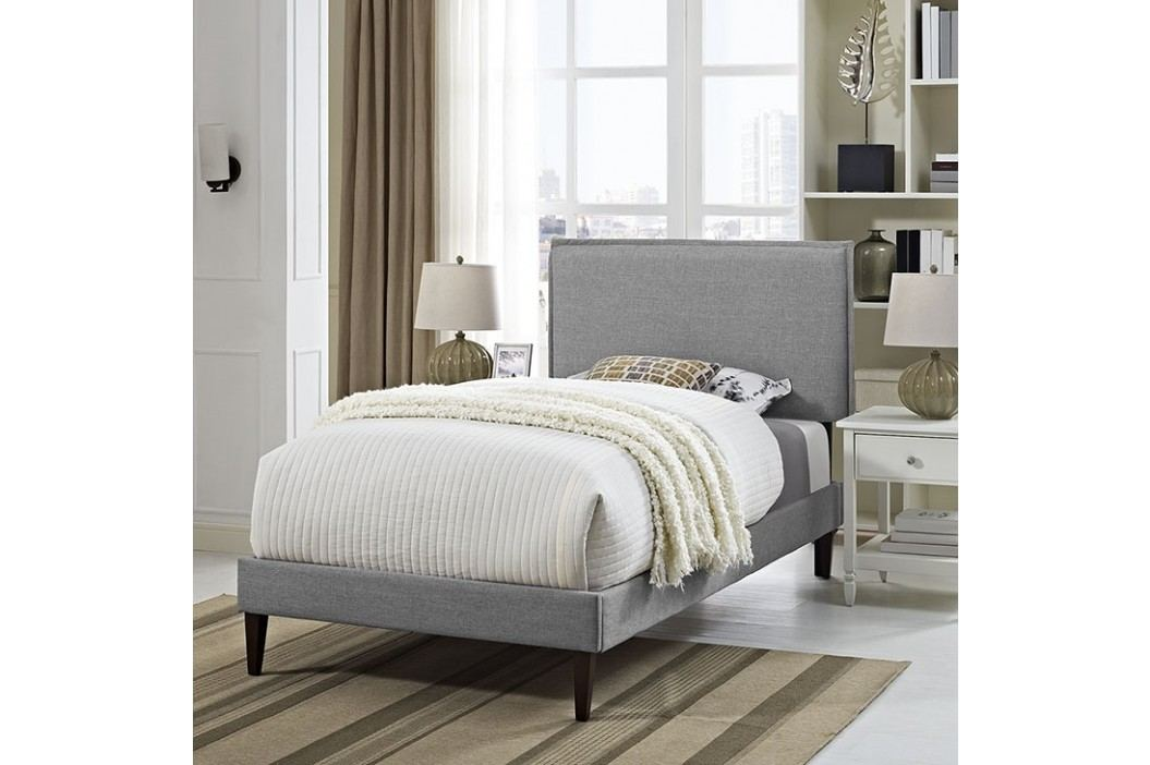 Camille Twin Fabric Platform Bed with Squared Tapered Legs in Light Gray Beds