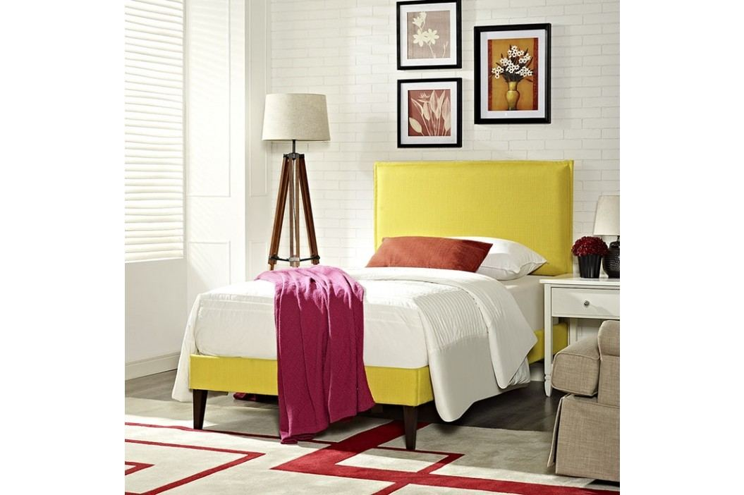 Camille Twin Fabric Platform Bed with Squared Tapered Legs in Sunny