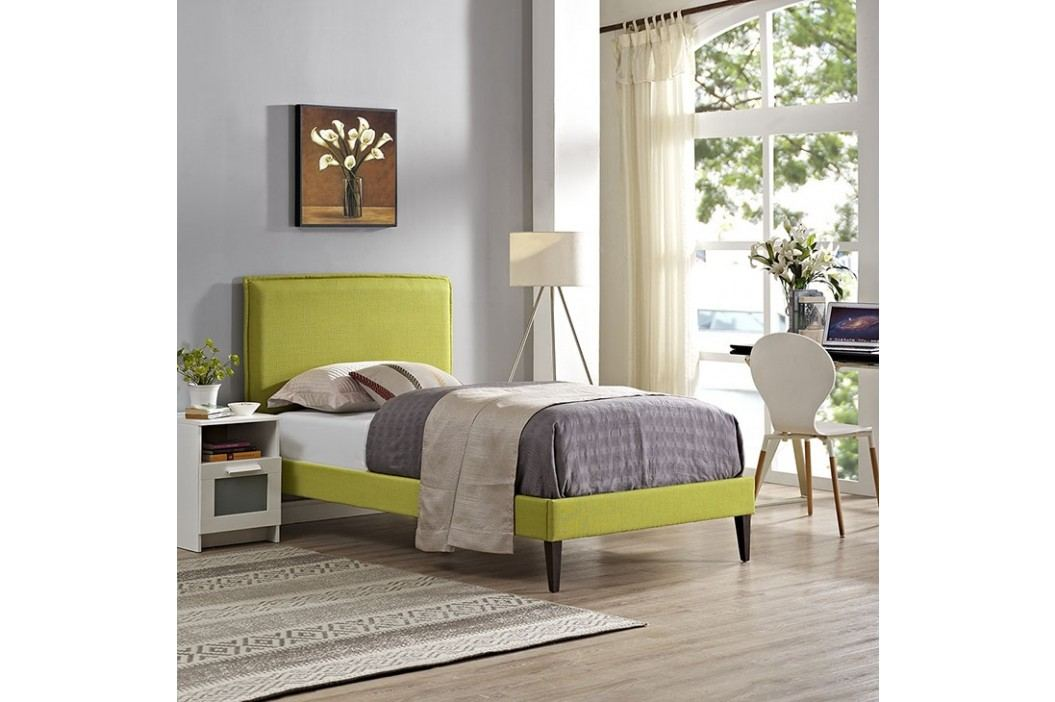 Camille Twin Fabric Platform Bed with Squared Tapered Legs in Wheatgrass Beds