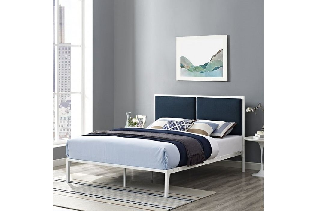 Della Full Fabric Bed in White Azure