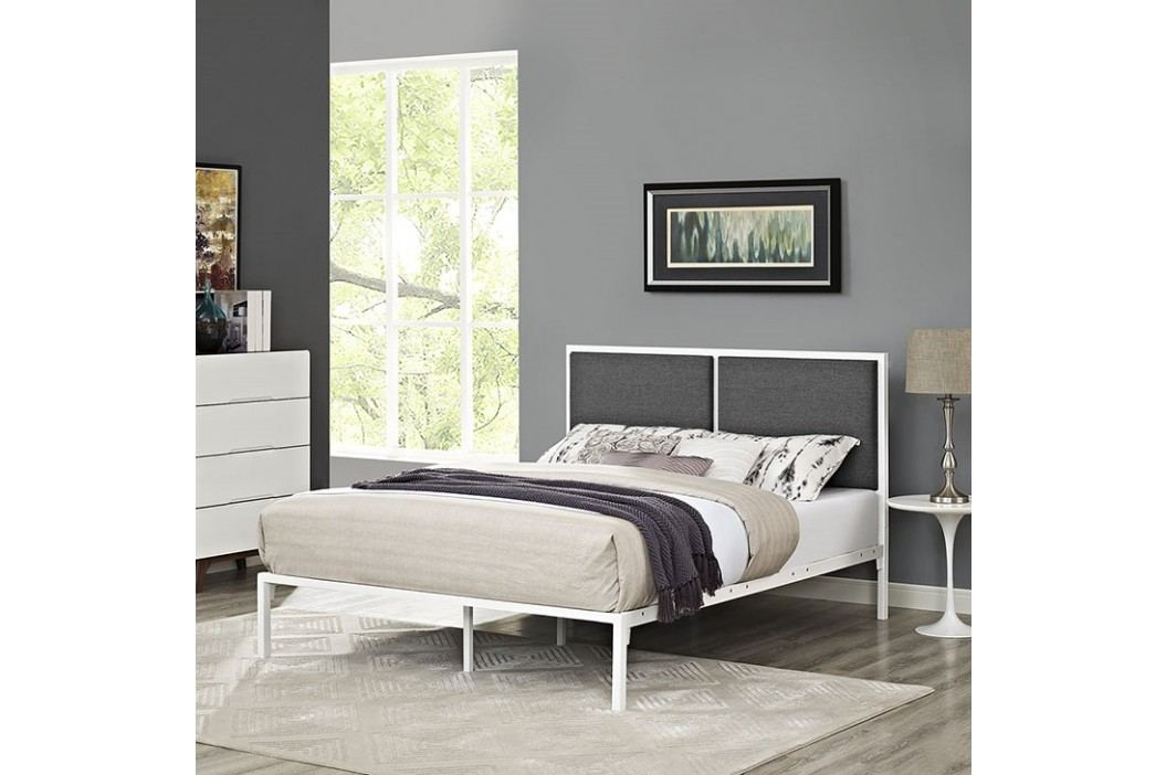 Della King Fabric Bed in White Gray Beds