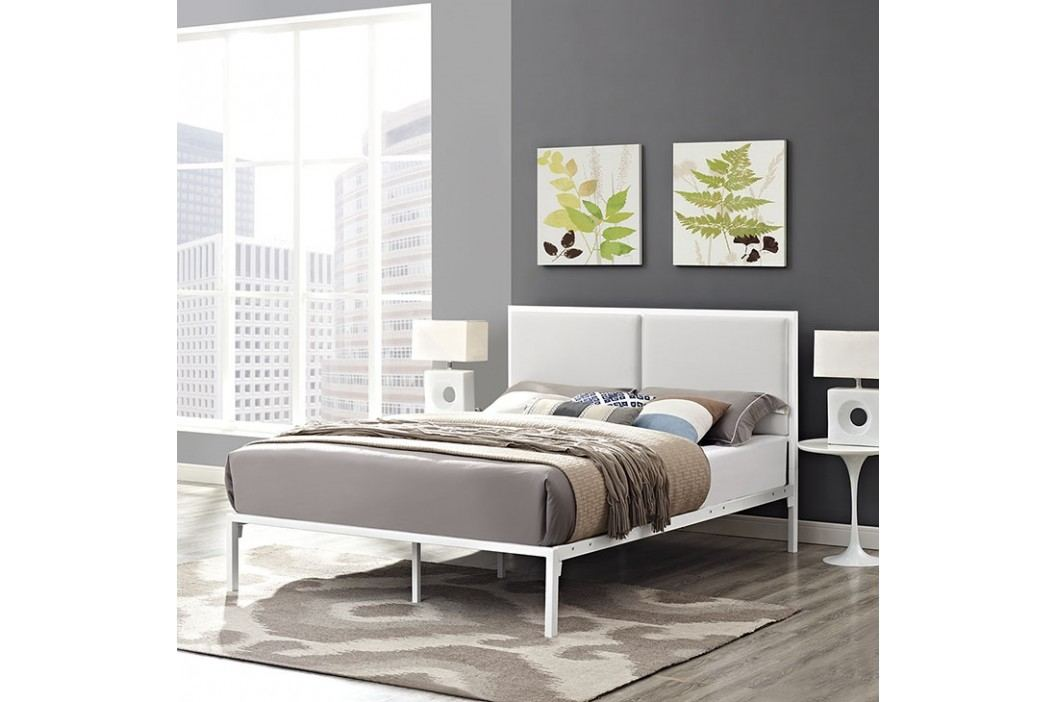 Della King Vinyl Bed in White White Beds