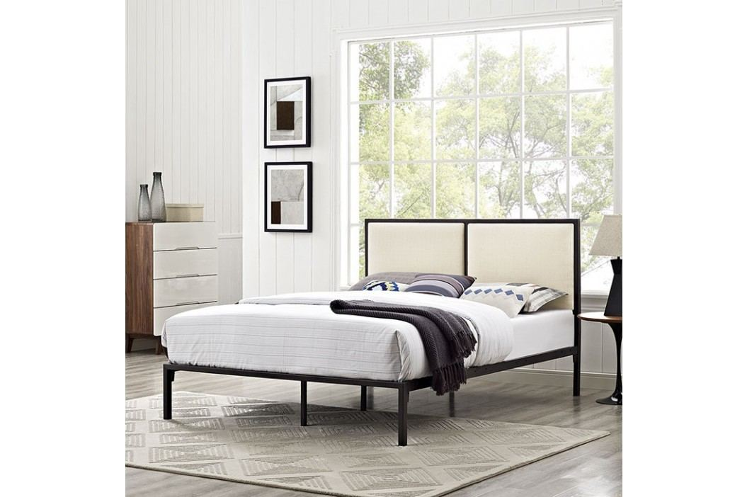 Della Queen Fabric Bed in Brown Beige Beds