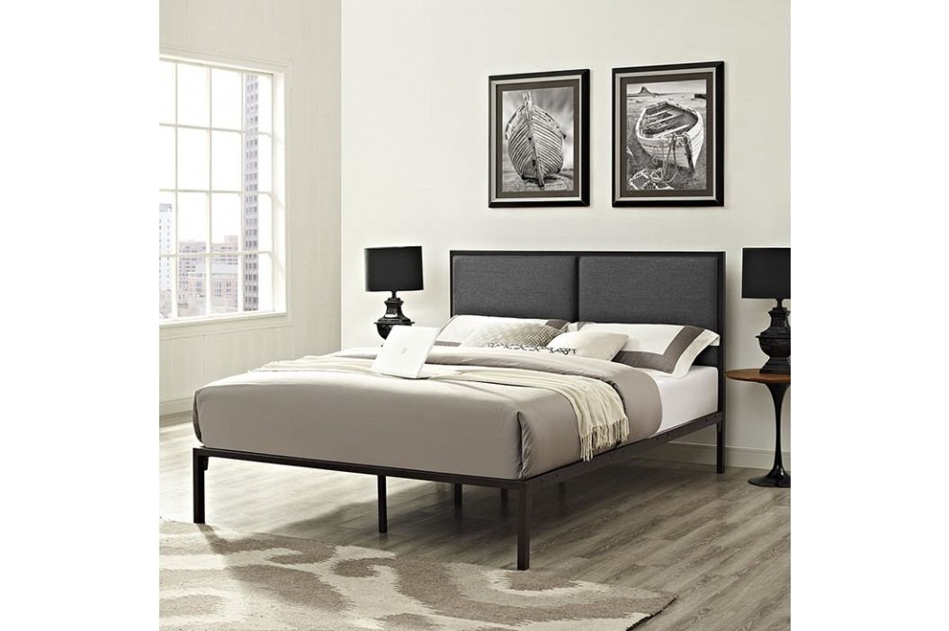 Della Queen Fabric Bed in Brown Gray Beds