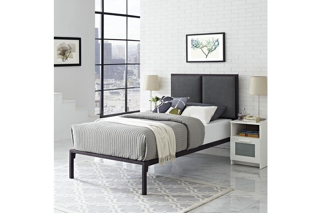 Della Twin Fabric Bed in Brown Gray Beds