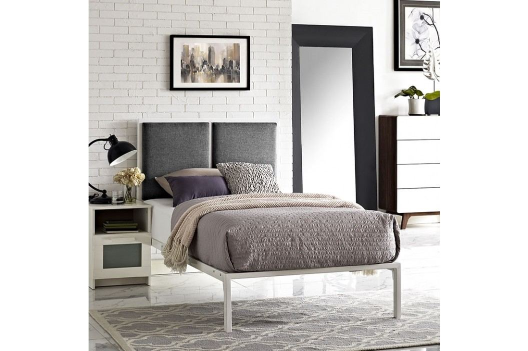 Della Twin Fabric Bed in White Gray