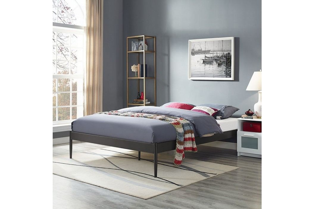 Elsie Full Fabric Bed Frame in Brown Beds