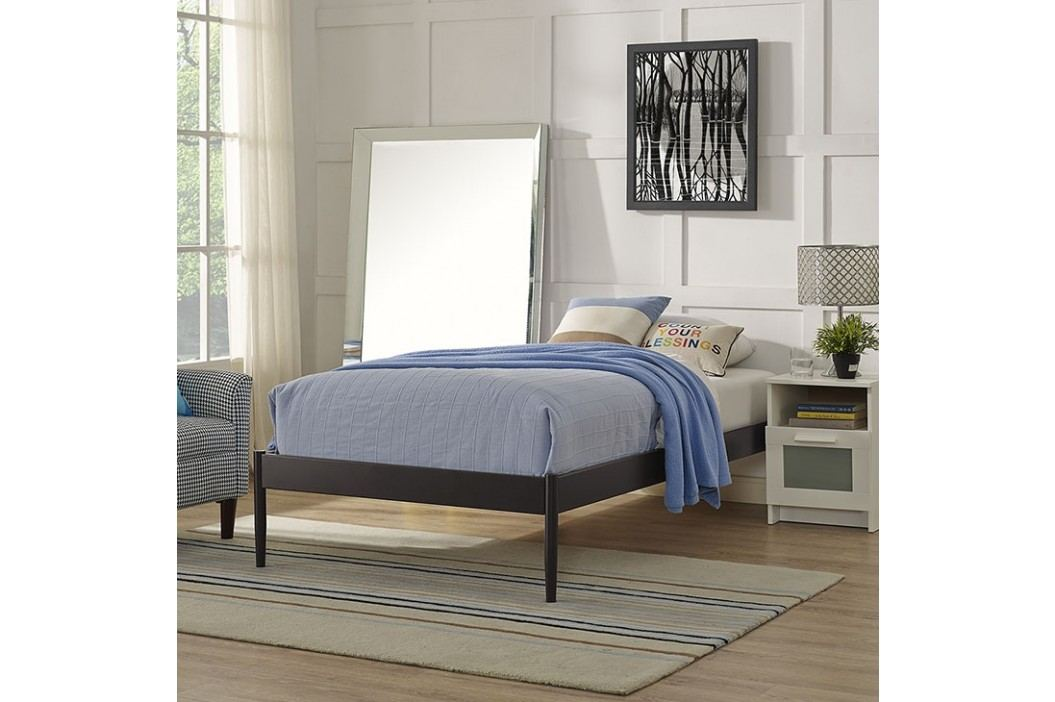 Elsie Twin Fabric Bed Frame in Brown